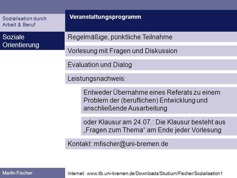 Veranstaltungsprogramm Martin Fischer Internet: www.itb.uni-bremen.de/Downloads/Studium/Fischer/Sozialisation1 Soziale Orientierung Sozialisation durc