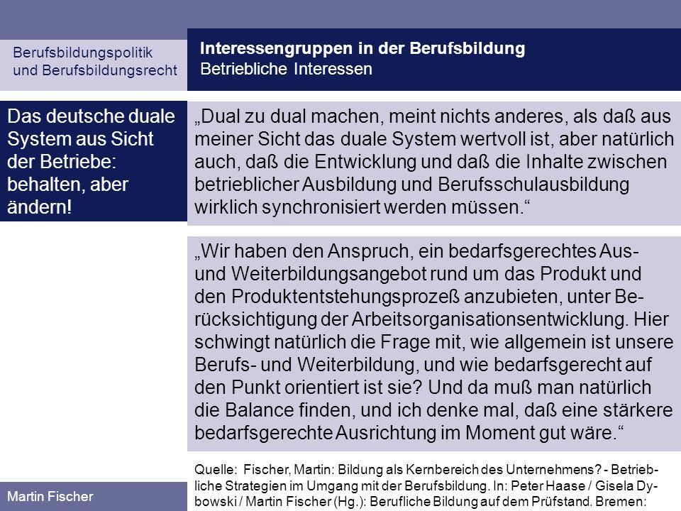 Interessengruppen in der Berufsbildung Betriebliche Interessen Berufsbildungspolitik und Berufsbildungsrecht Martin Fischer Das deutsche duale System