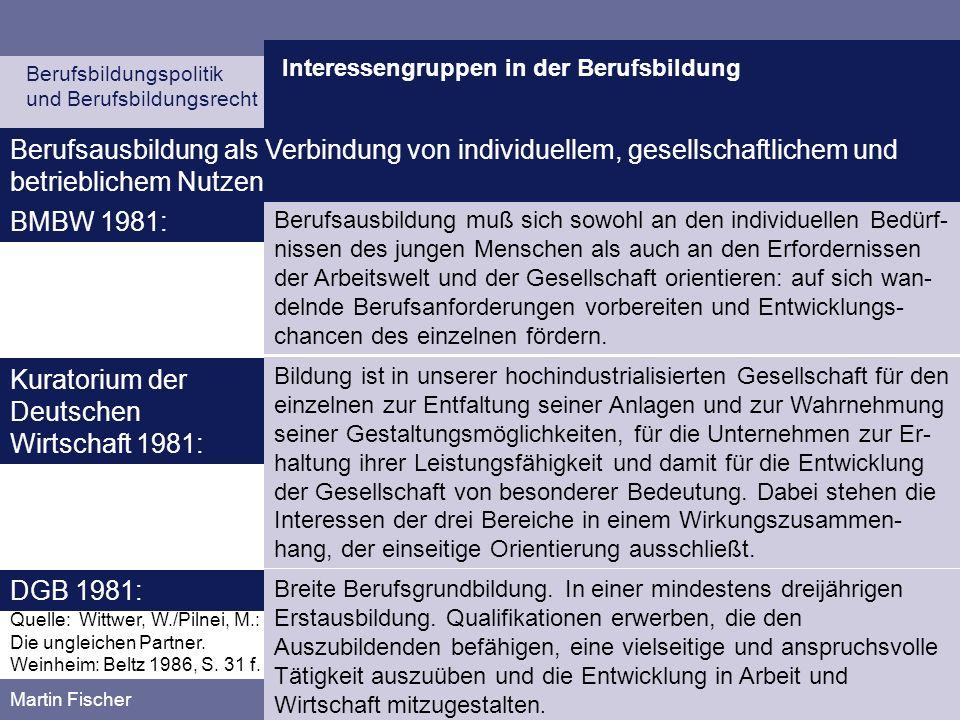 Interessengruppen in der Berufsbildung Berufsbildungspolitik und Berufsbildungsrecht Martin Fischer Berufsausbildung muß sich sowohl an den individuel