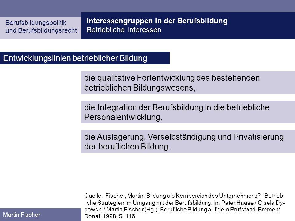Interessengruppen in der Berufsbildung Betriebliche Interessen Berufsbildungspolitik und Berufsbildungsrecht Martin Fischer Entwicklungslinien betrieb