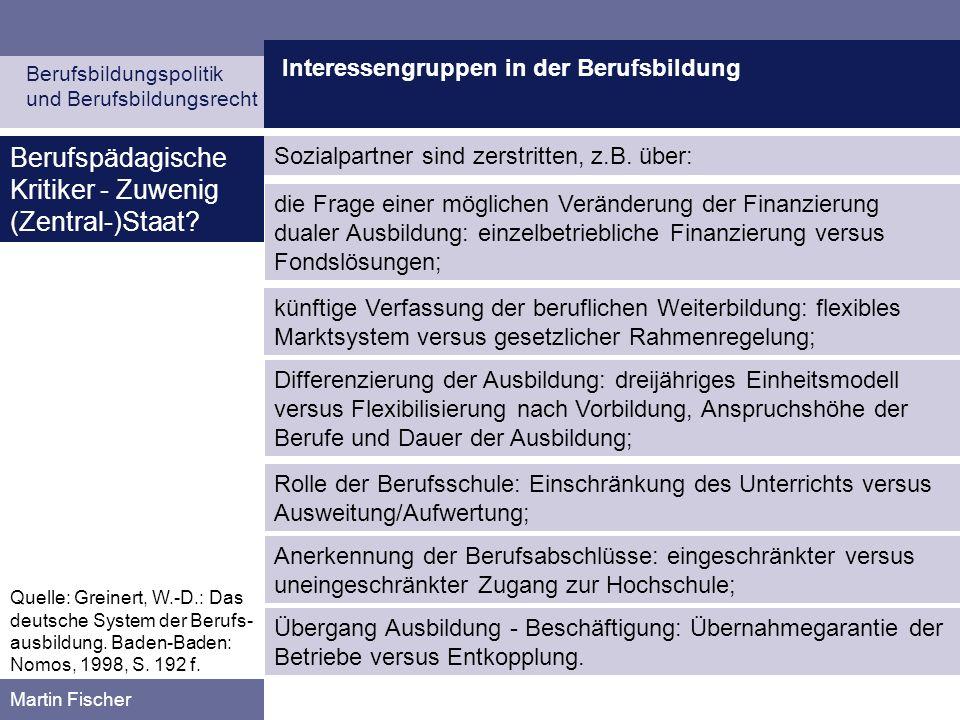 Interessengruppen in der Berufsbildung Berufsbildungspolitik und Berufsbildungsrecht Martin Fischer Sozialpartner sind zerstritten, z.B. über: Berufsp