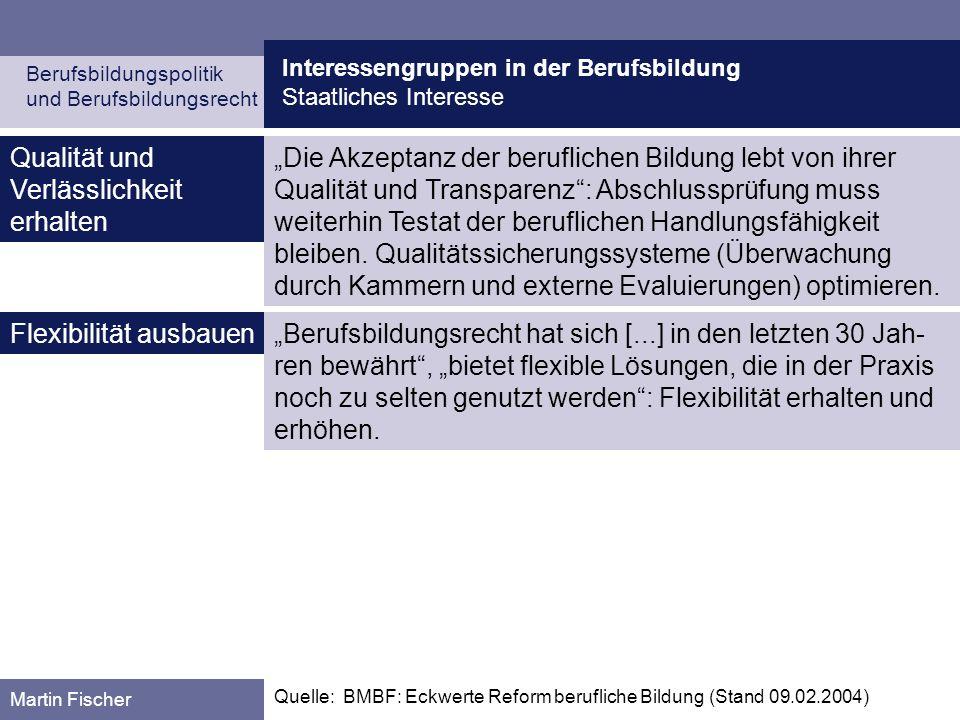 Interessengruppen in der Berufsbildung Staatliches Interesse Berufsbildungspolitik und Berufsbildungsrecht Martin Fischer Die Akzeptanz der berufliche