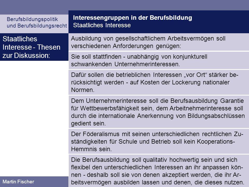 Interessengruppen in der Berufsbildung Staatliches Interesse Berufsbildungspolitik und Berufsbildungsrecht Martin Fischer Ausbildung von gesellschaftl
