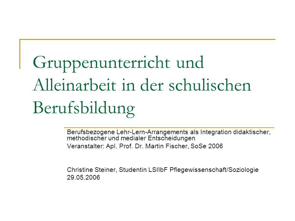 Christine Steiner, Studentin LSIIbF Pflegewissenschaft Gruppenunterricht: Planung Im Mittelpunkt des Gruppenunterrichts steht die selbstständige Auseinandersetzung der Schüler mit einem Problem und das an einer Aufgabe orientierte kooperative Handeln (Gudjons 2003: 27).