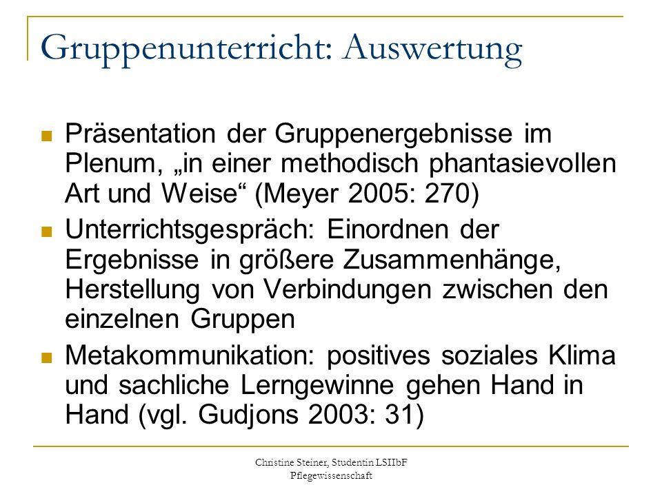 Christine Steiner, Studentin LSIIbF Pflegewissenschaft Gruppenunterricht: Auswertung Präsentation der Gruppenergebnisse im Plenum, in einer methodisch