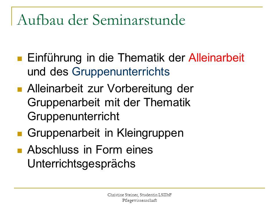 Christine Steiner, Studentin LSIIbF Pflegewissenschaft Aufbau der Seminarstunde Einführung in die Thematik der Alleinarbeit und des Gruppenunterrichts