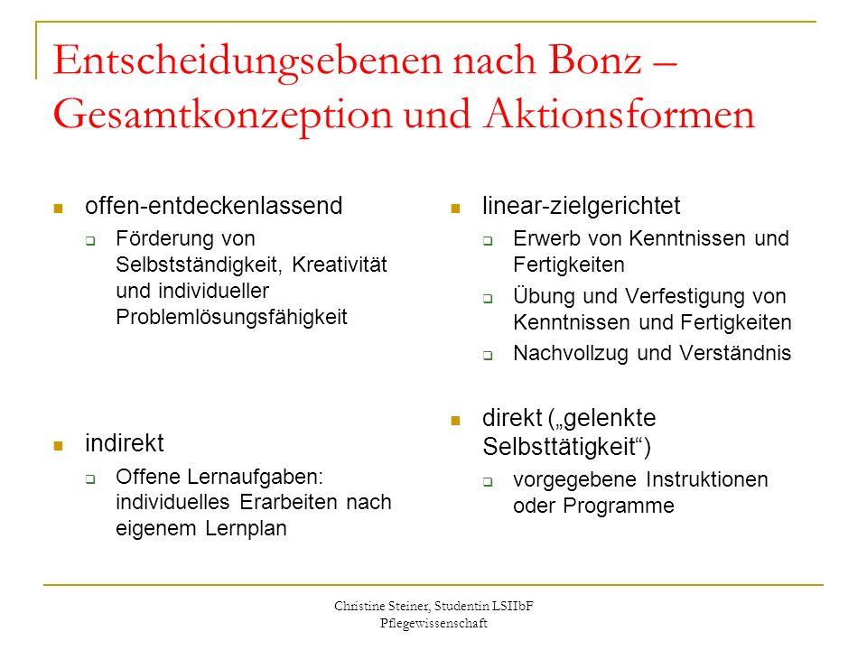 Christine Steiner, Studentin LSIIbF Pflegewissenschaft Entscheidungsebenen nach Bonz – Gesamtkonzeption und Aktionsformen offen-entdeckenlassend Förde