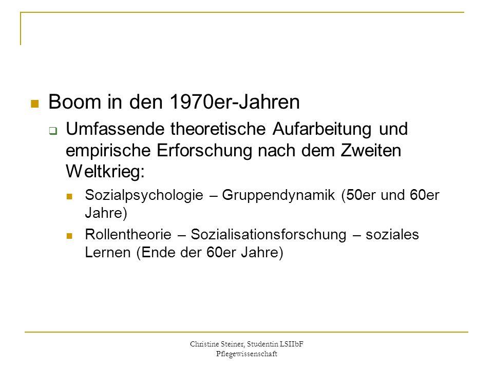 Christine Steiner, Studentin LSIIbF Pflegewissenschaft Boom in den 1970er-Jahren Umfassende theoretische Aufarbeitung und empirische Erforschung nach