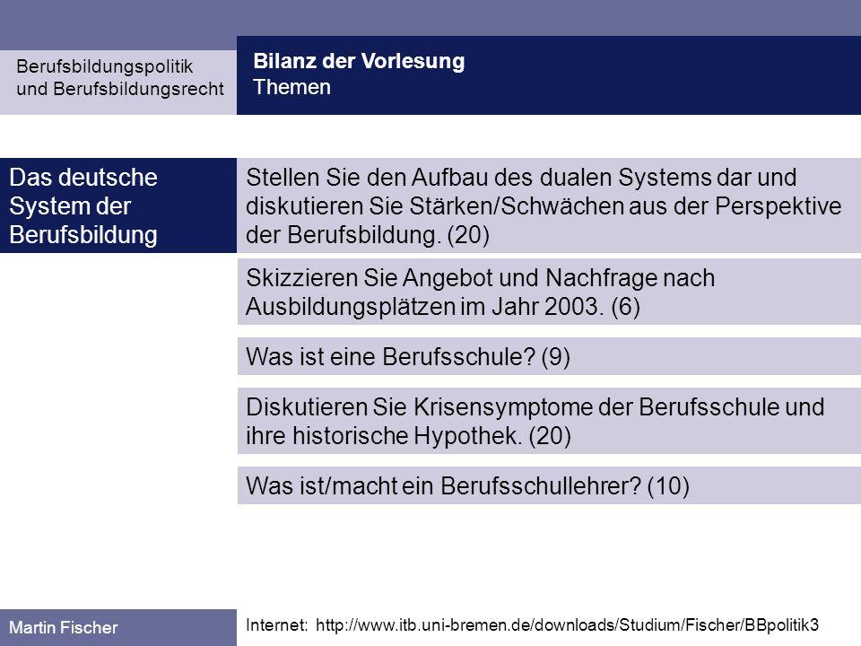 Berufsbildungspolitik und Berufsbildungsrecht Martin Fischer Das deutsche System der Berufsbildung Bilanz der Vorlesung Themen Internet: http://www.it