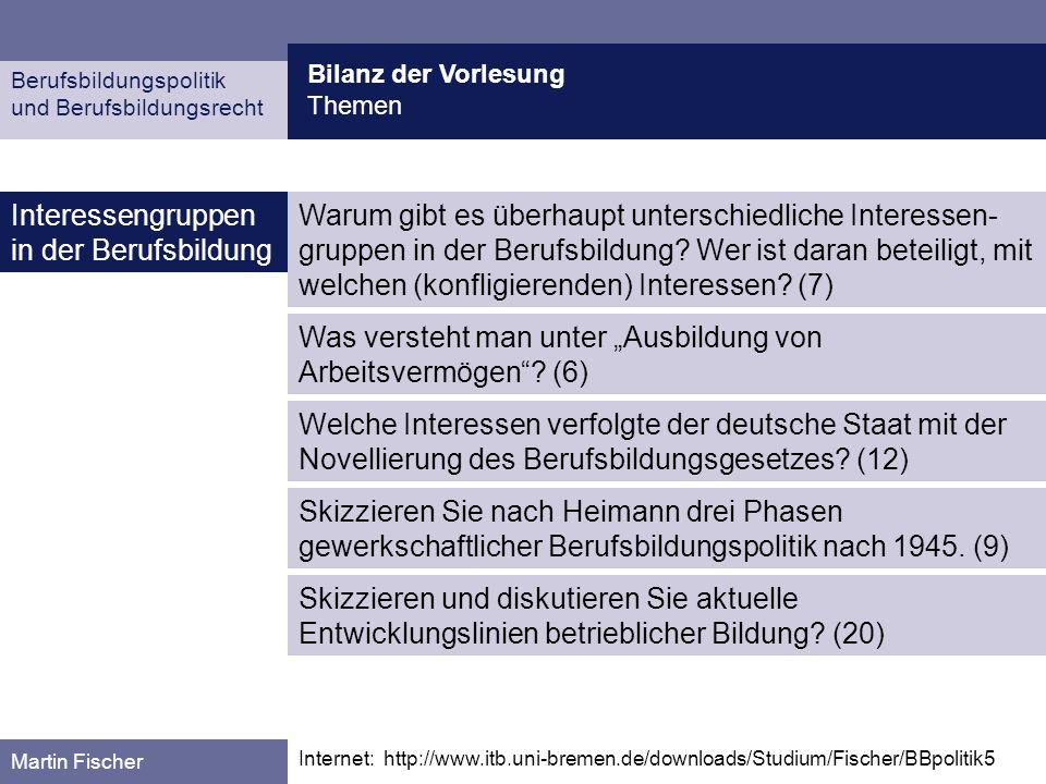 Berufsbildungspolitik und Berufsbildungsrecht Martin Fischer Interessengruppen in der Berufsbildung Bilanz der Vorlesung Themen Internet: http://www.i
