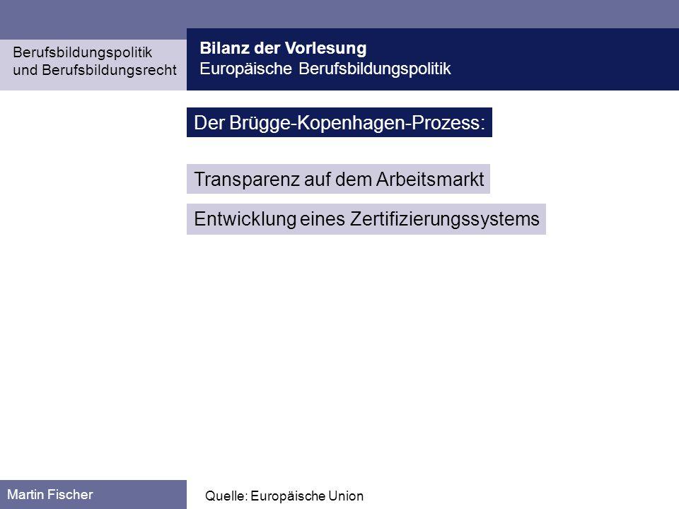 Bilanz der Vorlesung Europäische Berufsbildungspolitik Berufsbildungspolitik und Berufsbildungsrecht Martin Fischer Quelle: Europäische Union Der Brüg