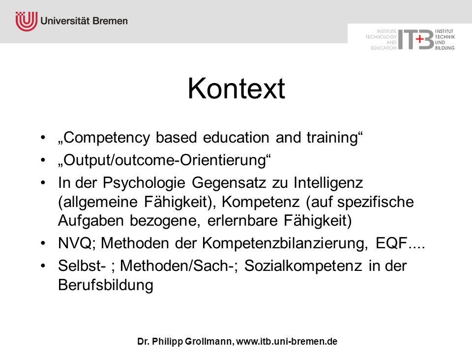 Dr. Philipp Grollmann, www.itb.uni-bremen.de Kontext Competency based education and training Output/outcome-Orientierung In der Psychologie Gegensatz