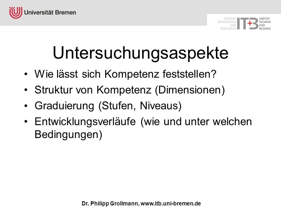 Dr. Philipp Grollmann, www.itb.uni-bremen.de Untersuchungsaspekte Wie lässt sich Kompetenz feststellen? Struktur von Kompetenz (Dimensionen) Graduieru
