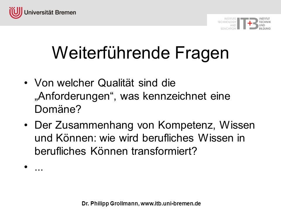 Dr. Philipp Grollmann, www.itb.uni-bremen.de Weiterführende Fragen Von welcher Qualität sind die Anforderungen, was kennzeichnet eine Domäne? Der Zusa