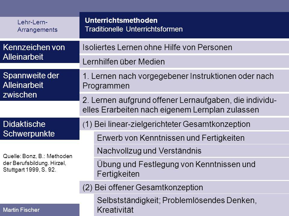 Unterrichtsmethoden Traditionelle Unterrichtsformen Martin Fischer Isoliertes Lernen ohne Hilfe von PersonenKennzeichen von Alleinarbeit Lernhilfen üb