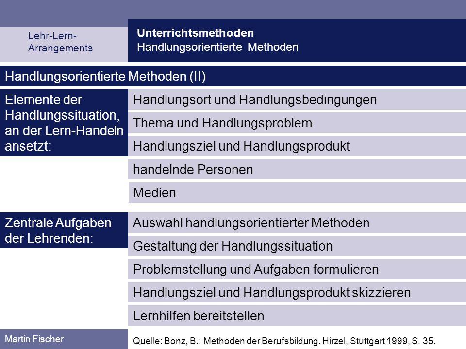 Unterrichtsmethoden Handlungsorientierte Methoden Martin Fischer Handlungsziel und Handlungsprodukt Handlungsorientierte Methoden (II) handelnde Perso