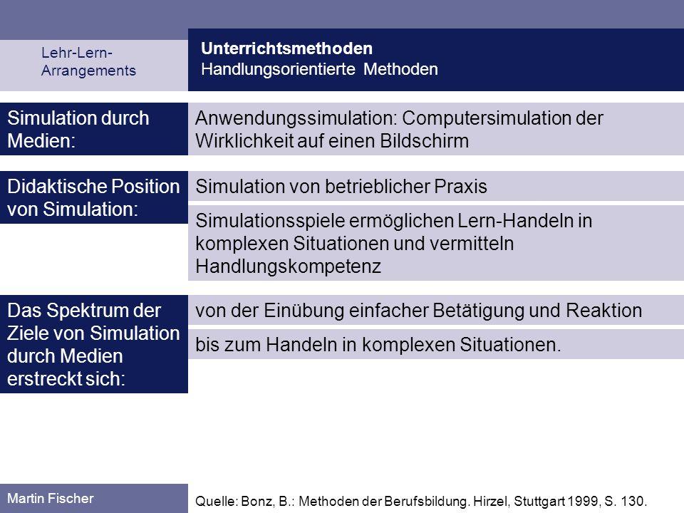 Unterrichtsmethoden Handlungsorientierte Methoden Martin Fischer Anwendungssimulation: Computersimulation der Wirklichkeit auf einen Bildschirm Simula