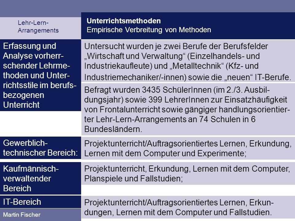 Unterrichtsmethoden Empirische Verbreitung von Methoden Lehr-Lern- Arrangements Martin Fischer Erfassung und Analyse vorherr- schender Lehrme- thoden