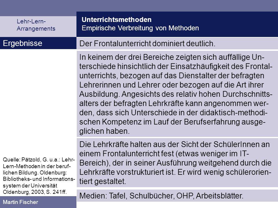 Unterrichtsmethoden Empirische Verbreitung von Methoden Lehr-Lern- Arrangements Martin Fischer Ergebnisse Der Frontalunterricht dominiert deutlich. In