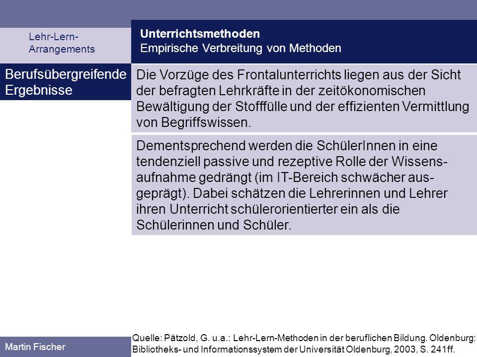 Unterrichtsmethoden Empirische Verbreitung von Methoden Lehr-Lern- Arrangements Martin Fischer Berufsübergreifende Ergebnisse Die Vorzüge des Frontalu