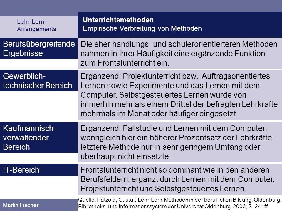 Unterrichtsmethoden Empirische Verbreitung von Methoden Lehr-Lern- Arrangements Martin Fischer Berufsübergreifende Ergebnisse Die eher handlungs- und
