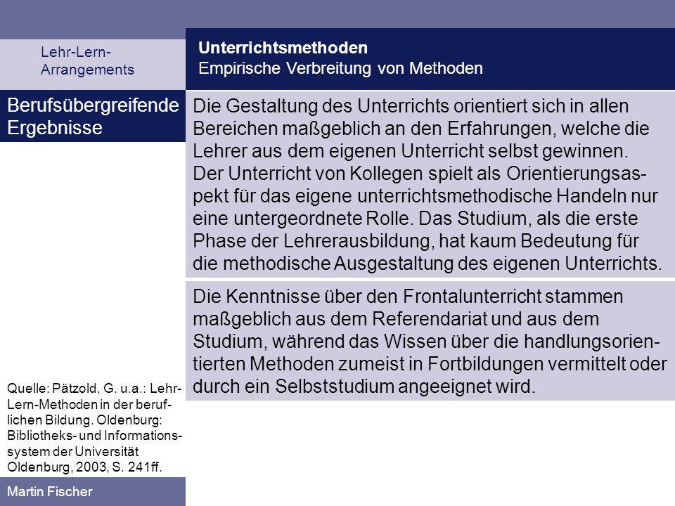 Unterrichtsmethoden Empirische Verbreitung von Methoden Lehr-Lern- Arrangements Martin Fischer Berufsübergreifende Ergebnisse Die Gestaltung des Unter