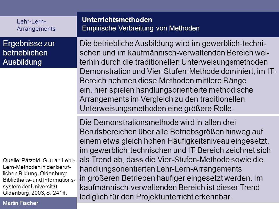 Unterrichtsmethoden Empirische Verbreitung von Methoden Lehr-Lern- Arrangements Martin Fischer Ergebnisse zur betrieblichen Ausbildung Die betrieblich