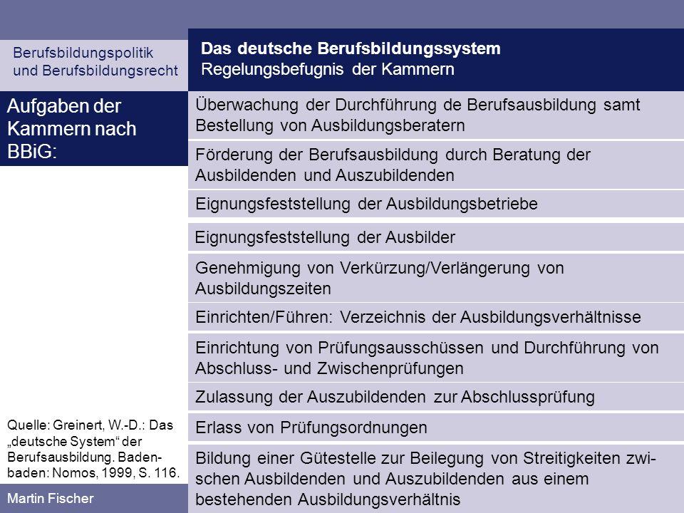 Das deutsche Berufsbildungssystem Regelungsbefugnis der Kammern Berufsbildungspolitik und Berufsbildungsrecht Martin Fischer Aufgaben der Kammern nach