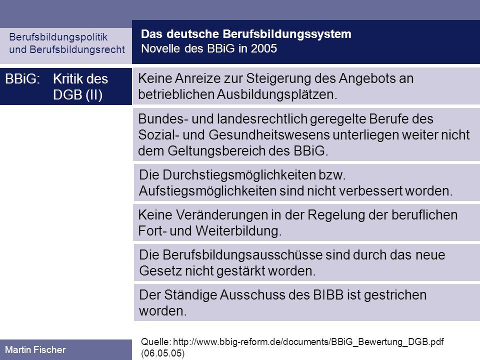 Das deutsche Berufsbildungssystem Novelle des BBiG in 2005 Berufsbildungspolitik und Berufsbildungsrecht Martin Fischer BBiG:Kritik des DGB (II) Quell