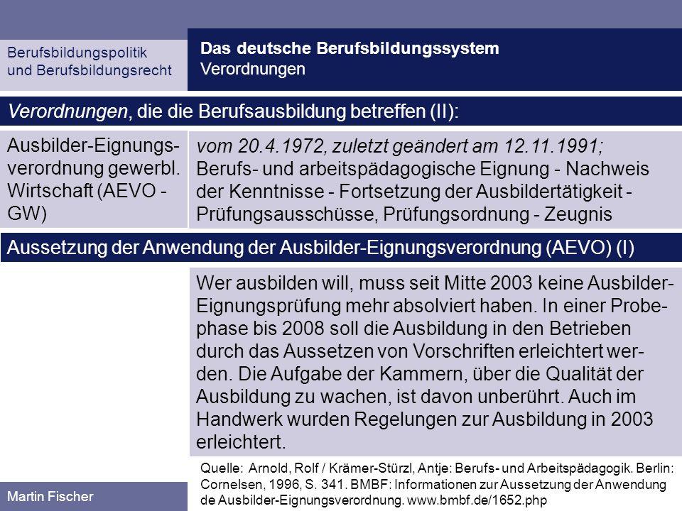 Das deutsche Berufsbildungssystem Verordnungen Berufsbildungspolitik und Berufsbildungsrecht Martin Fischer Ausbilder-Eignungs- verordnung gewerbl. Wi