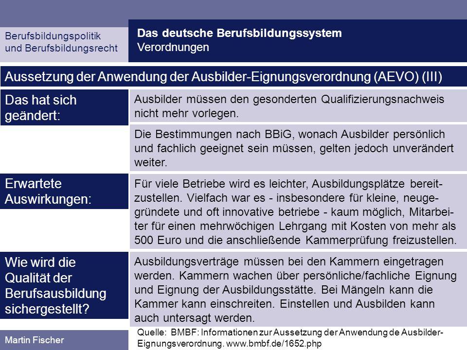 Das deutsche Berufsbildungssystem Verordnungen Berufsbildungspolitik und Berufsbildungsrecht Martin Fischer Quelle: BMBF: Informationen zur Aussetzung