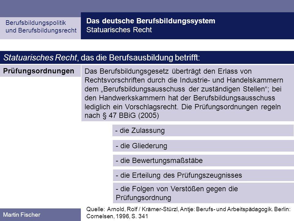 Das deutsche Berufsbildungssystem Statuarisches Recht Berufsbildungspolitik und Berufsbildungsrecht Martin Fischer Prüfungsordnungen Statuarisches Rec
