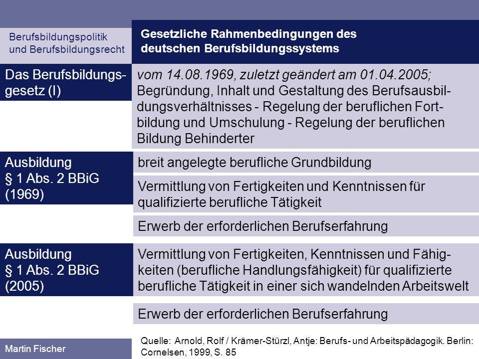 Gesetzliche Rahmenbedingungen des deutschen Berufsbildungssystems Berufsbildungspolitik und Berufsbildungsrecht Martin Fischer Das Berufsbildungs- ges