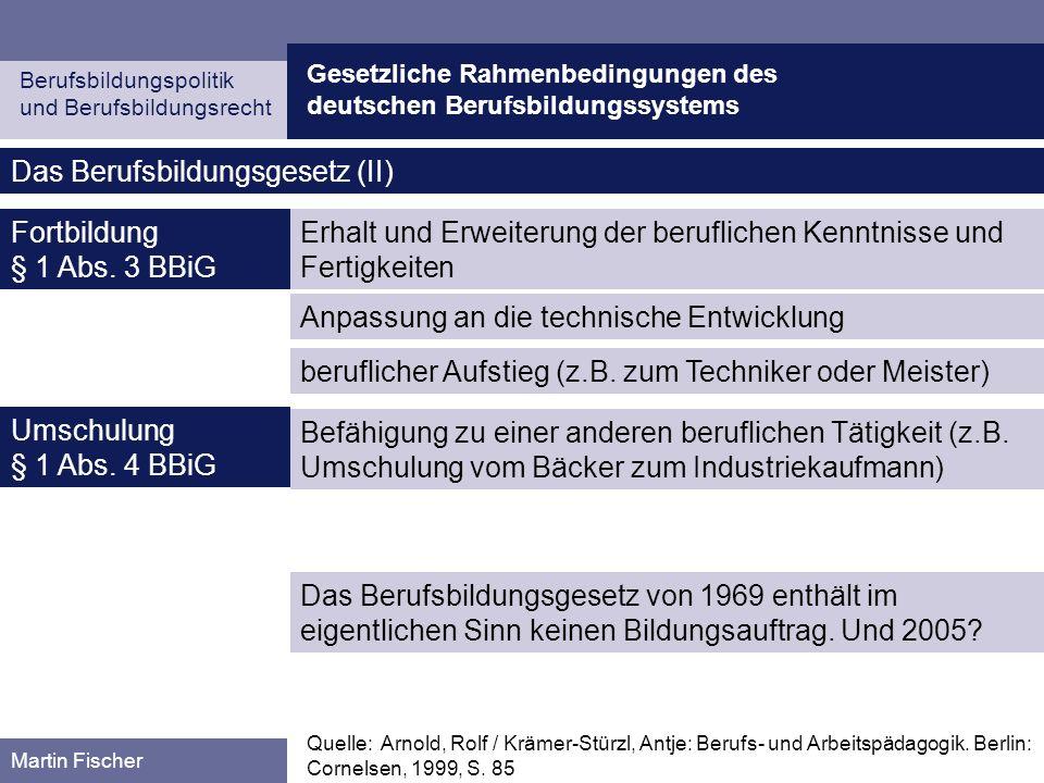 Gesetzliche Rahmenbedingungen des deutschen Berufsbildungssystems Berufsbildungspolitik und Berufsbildungsrecht Martin Fischer Das Berufsbildungsgeset