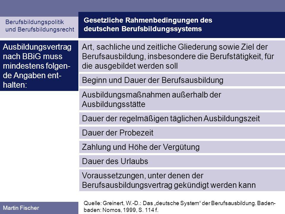 Gesetzliche Rahmenbedingungen des deutschen Berufsbildungssystems Berufsbildungspolitik und Berufsbildungsrecht Martin Fischer Ausbildungsvertrag nach