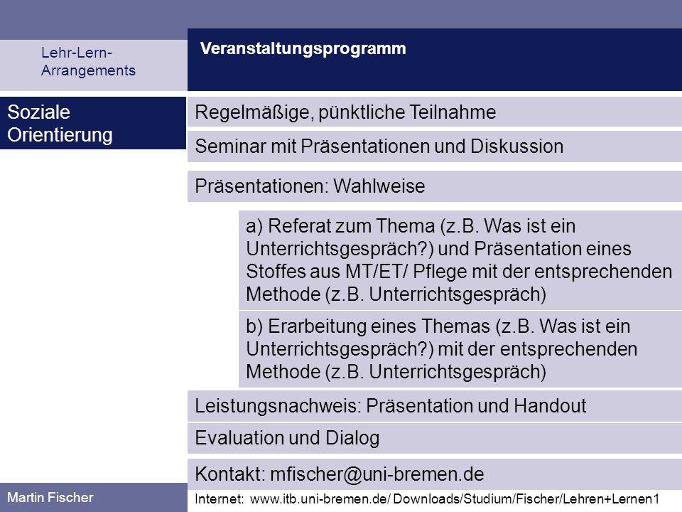 Veranstaltungsprogramm Lehr-Lern- Arrangements Martin Fischer Internet: www.itb.uni-bremen.de/ Downloads/Studium/Fischer/Lehren+Lernen1 Soziale Orient