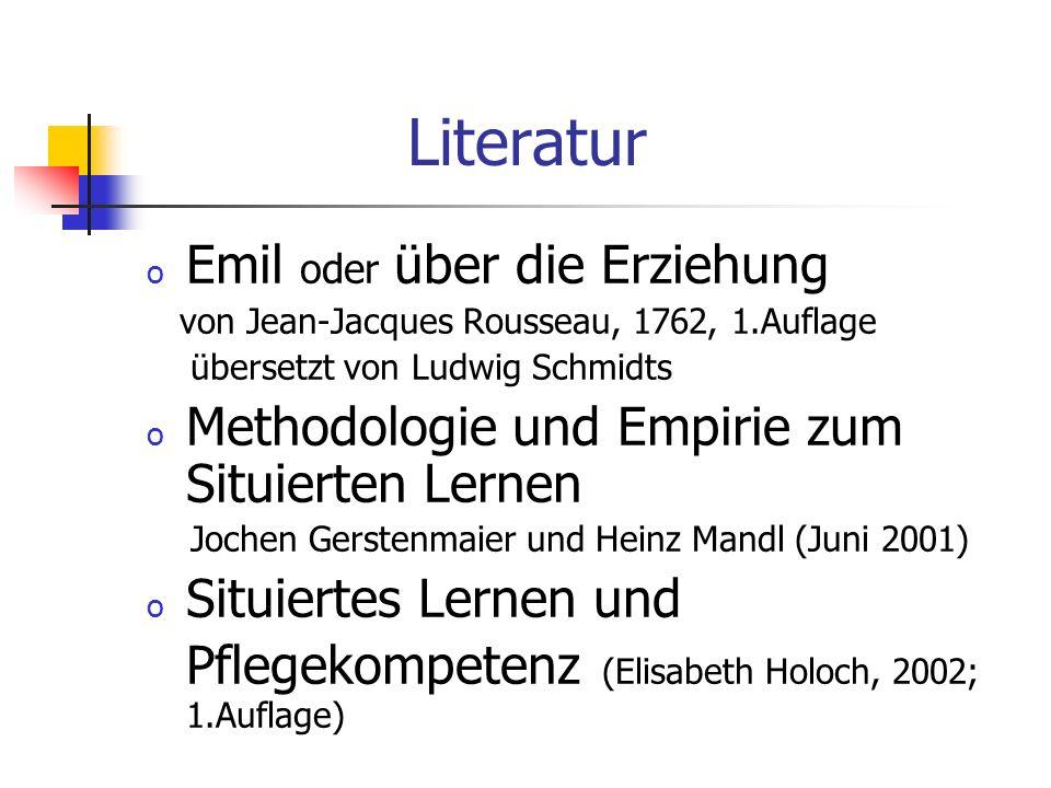 Grundmodell des situierten Lernens natürliche Erziehung Vorstellung des Themas / Literatur Einleitung Zeitleiste: Rousseau Magische Ente Eitelkeit Sit