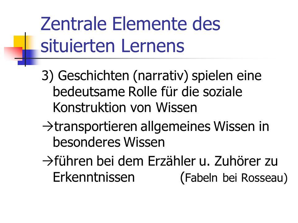 Zentrale Elemente des situierten Lernens 2) Kann von Experten gelernt werden, wenn diese, Wissen in realen (Problem-) Situationen explizieren Voraussetzung: sie handeln/ sprechen als Mitglied der Gemeinschaft akzept.