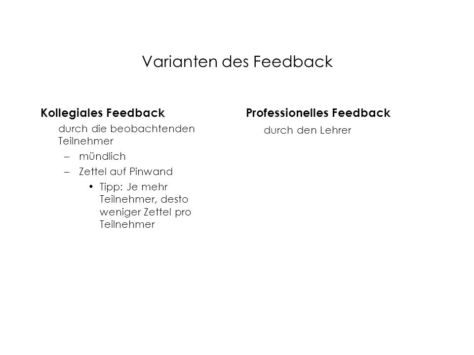 Varianten des Feedback Kollegiales Feedback durch die beobachtenden Teilnehmer –mündlich –Zettel auf Pinwand Tipp: Je mehr Teilnehmer, desto weniger Z