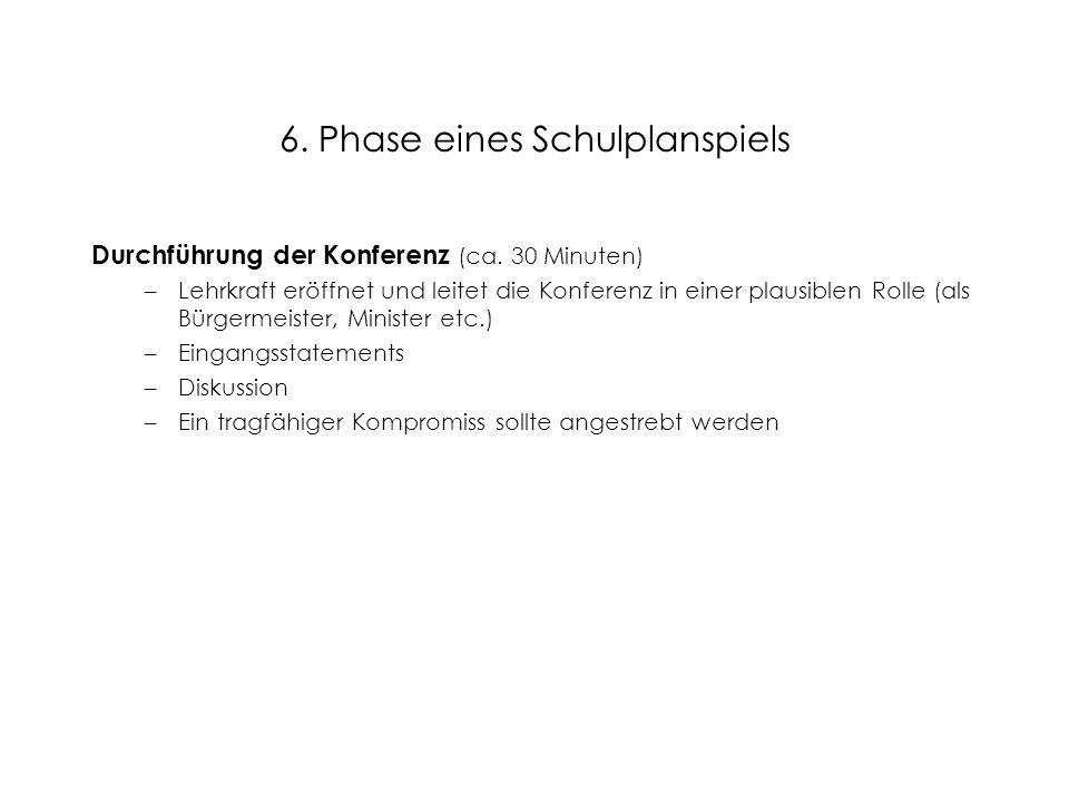 6. Phase eines Schulplanspiels Durchführung der Konferenz (ca. 30 Minuten) –Lehrkraft eröffnet und leitet die Konferenz in einer plausiblen Rolle (als