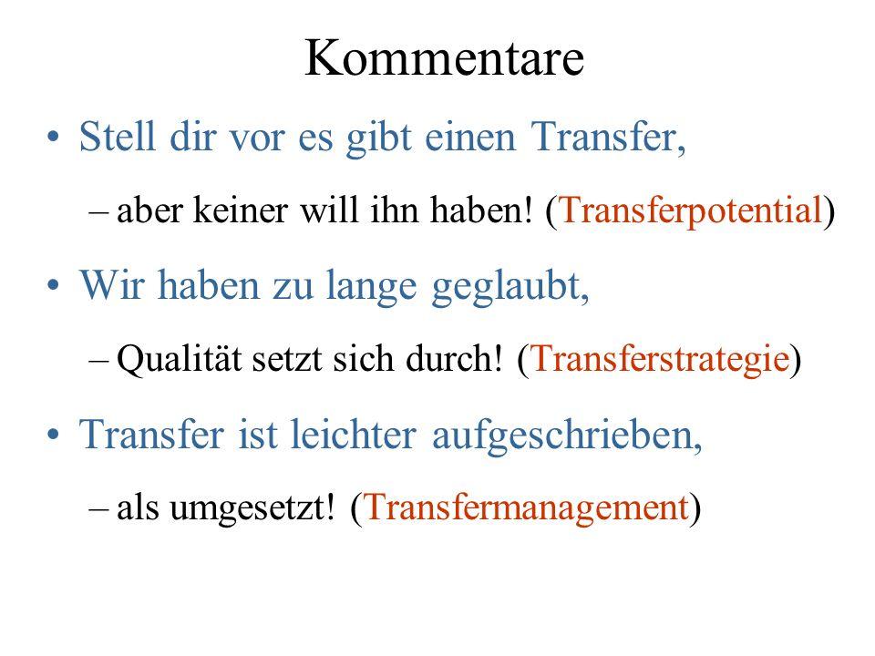 Kommentare Stell dir vor es gibt einen Transfer, –aber keiner will ihn haben.