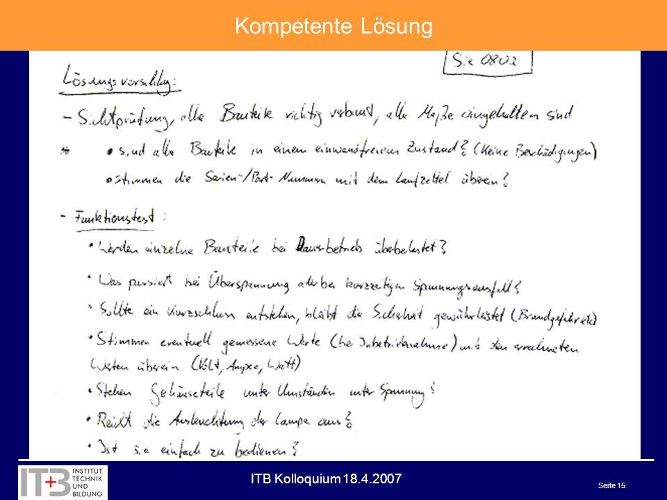 ITB Kolloquium 18.4.2007 Seite 15 Kompetente Lösung