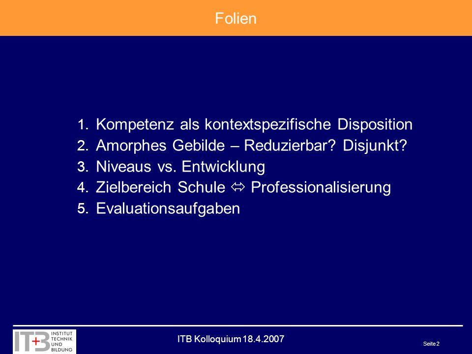 ITB Kolloquium 18.4.2007 Seite 2 Folien 1. Kompetenz als kontextspezifische Disposition 2.