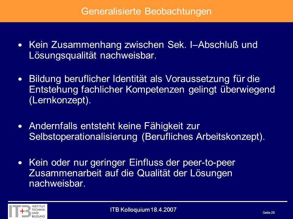 ITB Kolloquium 18.4.2007 Seite 20 Kein Zusammenhang zwischen Sek.