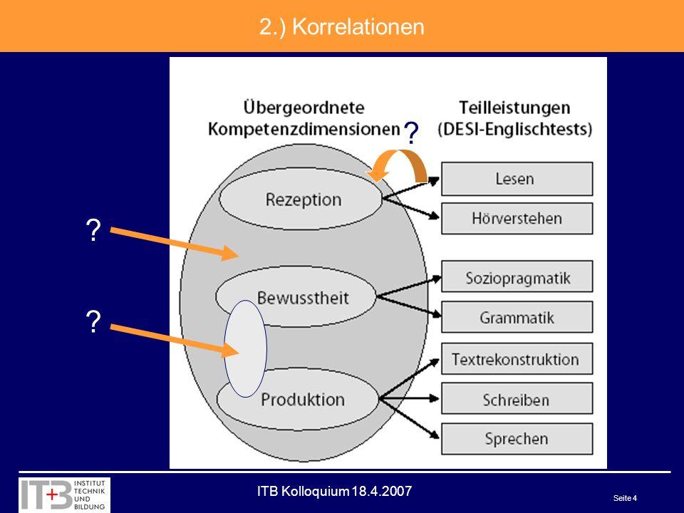 ITB Kolloquium 18.4.2007 Seite 5 2.) Modellierung Alternativ: Matrizendarstellung Eine psychometrisch optimale Aufgabe zielt auf genau 1 Feld der Kompetenzmatrix.