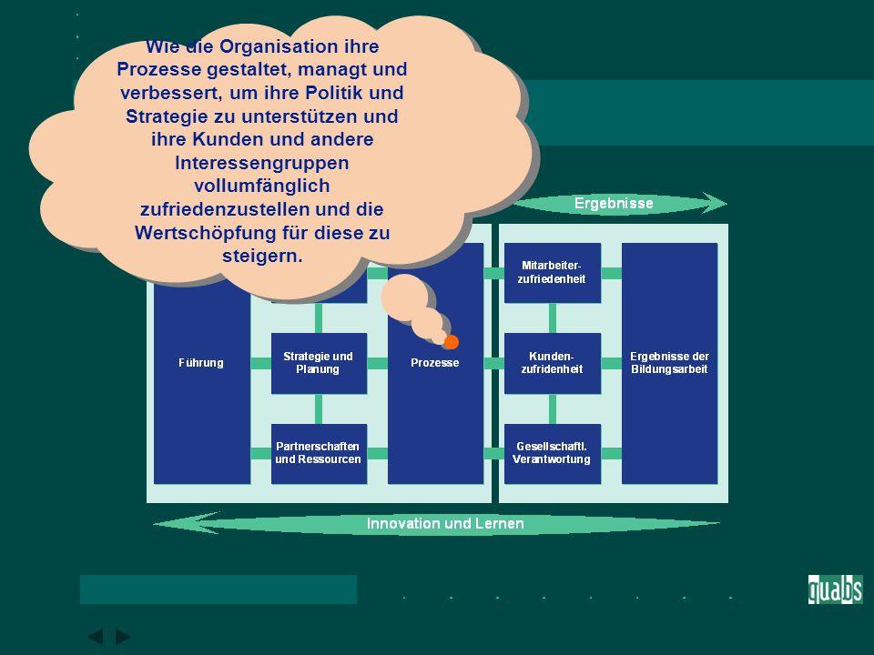 Das EFQM-Modell im Überblick Wie die Organisation ihre externen Partnerschaften und internen Ressourcen plant und managt, um ihre Politik und Strategie und das effektive Funktionieren ihrer Prozesse zu unterstützen