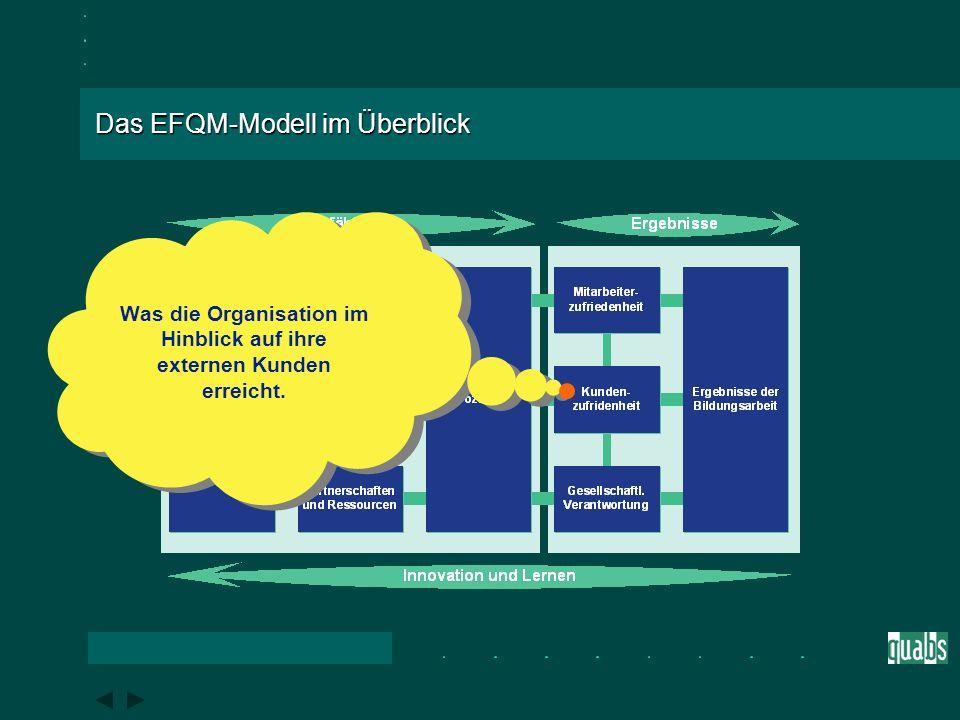 Das EFQM-Modell im Überblick Was die Organisation im Hinblick auf ihre Mitarbeiter erreicht.