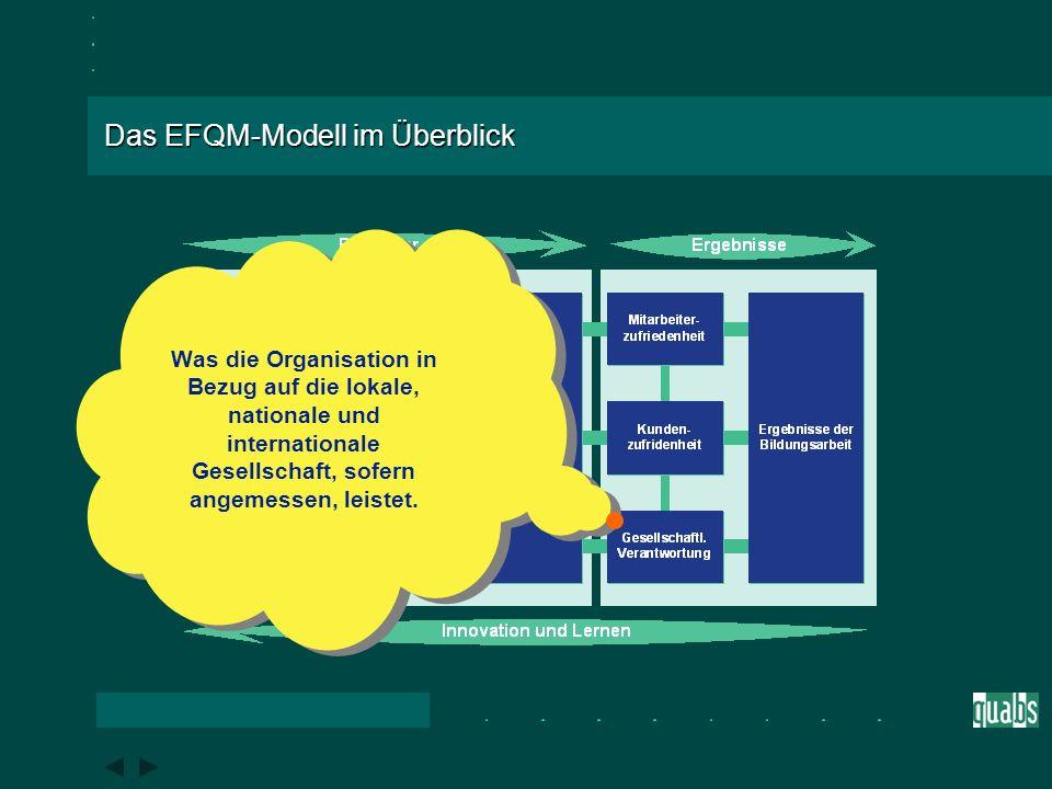 Das EFQM-Modell im Überblick Was die Organisation im Hinblick auf ihre externen Kunden erreicht.