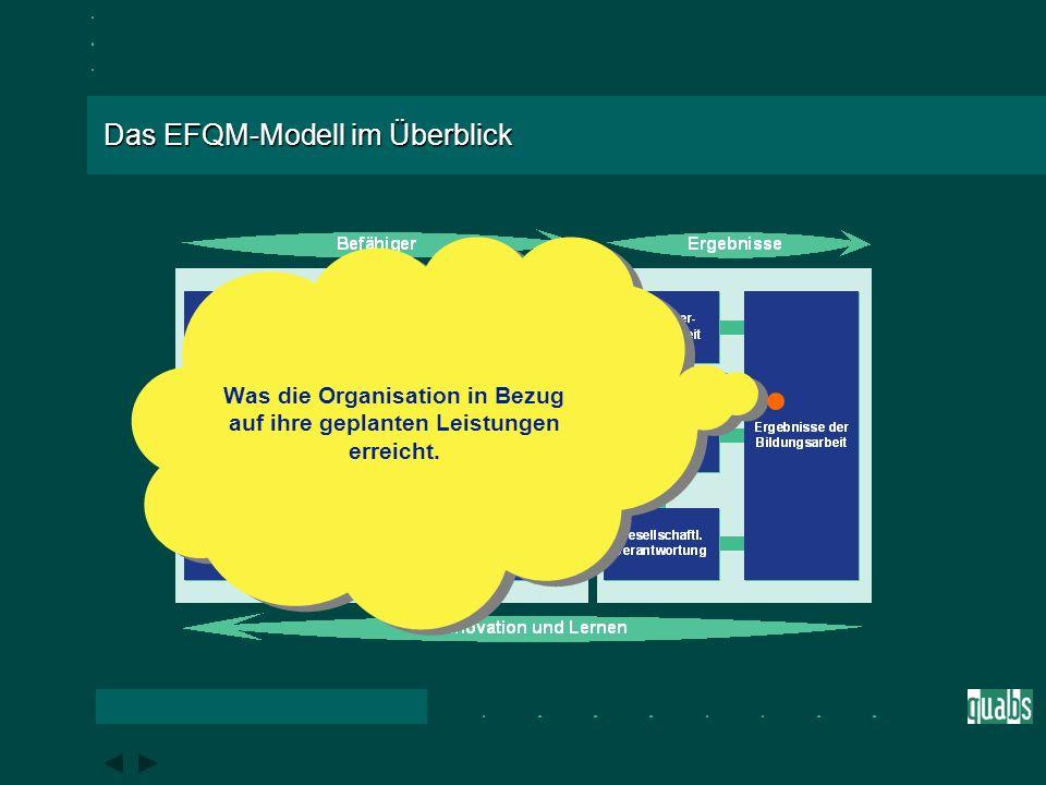 Das EFQM-Modell im Überblick Was die Organisation in Bezug auf die lokale, nationale und internationale Gesellschaft, sofern angemessen, leistet.