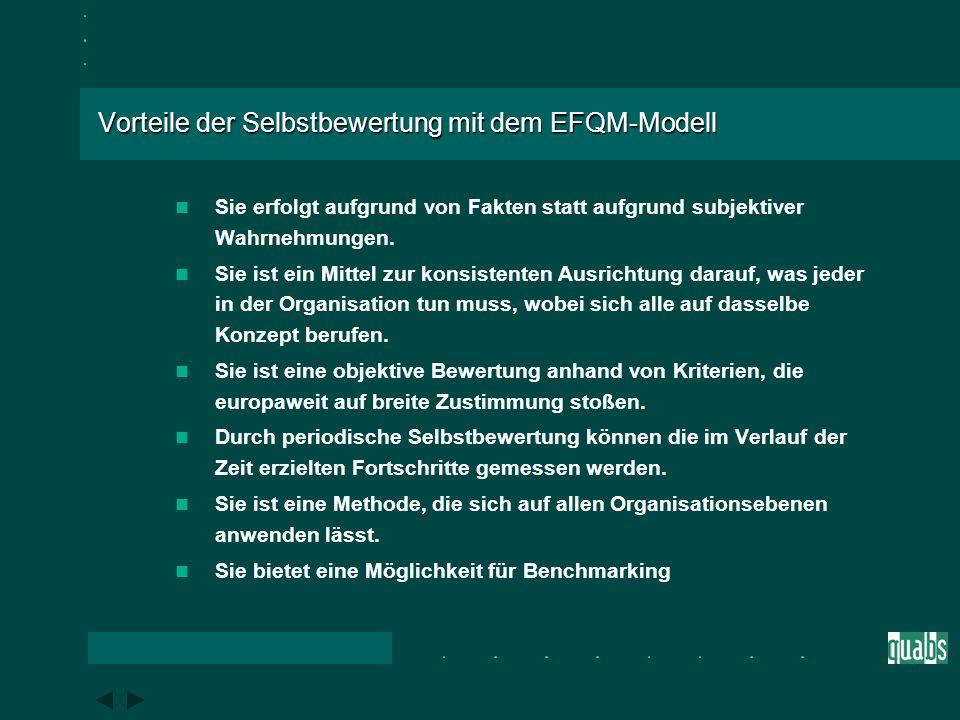 Ziele der Selbstbewertung mit dem EFQM-Modell Die Selbstbewertung ist eine umfassende, systematische und regelmäßige Überprüfung der Tätigkeiten und E